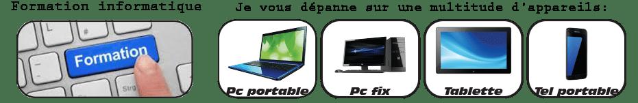 Présentation des activité de dépannage informatique, sur PC, tablettes et téléphones portable.Ainsi que la formation.